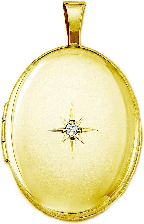 Pori Jewelers Max 75% OFF 14K Solid Yellow Locket Pendan Starburst Oval Credence Gold