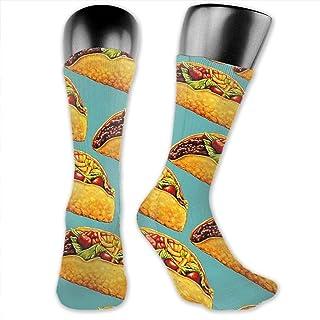Inner-shop, Niños Niñas Tacos mexicanos Calcetines deportivos de color verde menta Calcetines altos hasta el tobillo Medias de compresión por debajo de la rodilla Calcetines divertidos casuales a media pierna