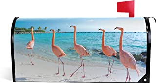 WOOR Pink Flamingo Magnetic Mailbox Cover Standard Size-18