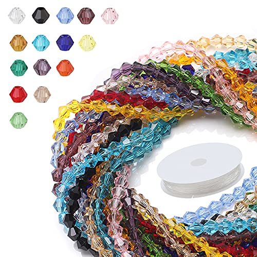 Bicone Glass Beads for Bracelet, Colorful Beads 4MM 95pcs/Strand 15 Colors Total 1425 Pcs Crystal Faceted Beads with Elastic Strings for DIY Jewelry Making Beading Necklace Earrings Rings