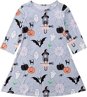 Toddler Baby Girls Halloween Dress Kids Girl Long Sleeve Christmas Dress Stripe Deer Playwear Clothes