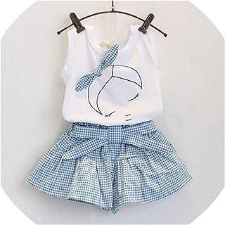 Skirt 2019 - Conjunto de Ropa de Verano para niñas con Playera y Pantalones Cortos de Manga Corta con Estampado de algodón