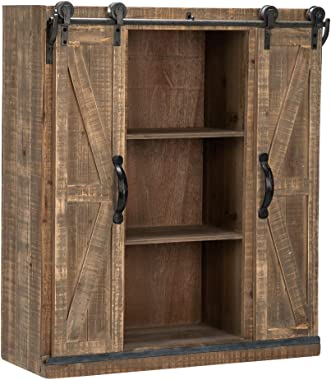 "Bonnlo 32"" H Rustic Wooden Wall Mounted Storage Cabinet with Sliding Barn Double Doors Farmhouse Vintage Cabinet for Kitchen"