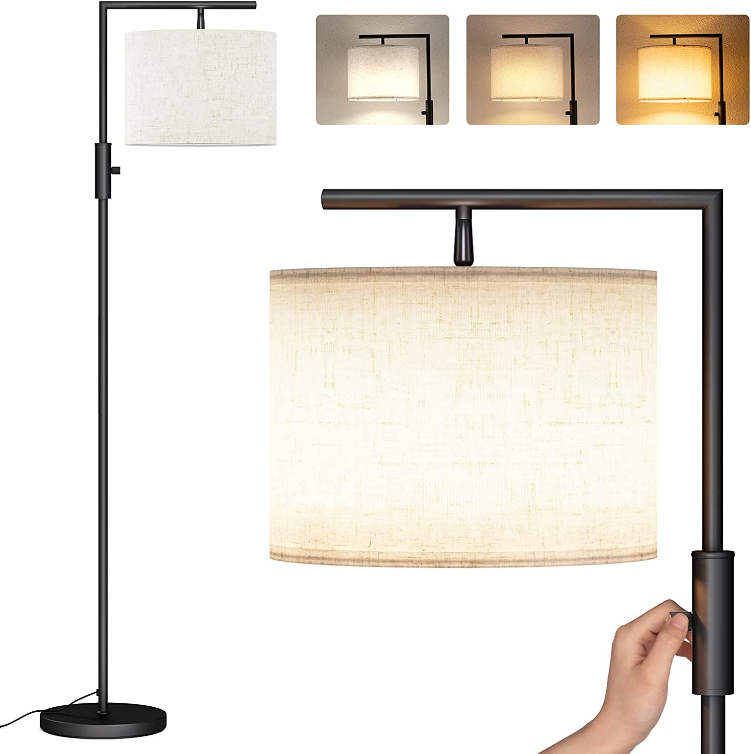 SUNMORY Modern Floor Lamps for Living Room, Standing Lamp with Rotary Switch, Tall Pole Floor Reading Lamp with Hanging Shade for Study Room, Office, 3Color Temperatures 9W Bulb Include(Black)