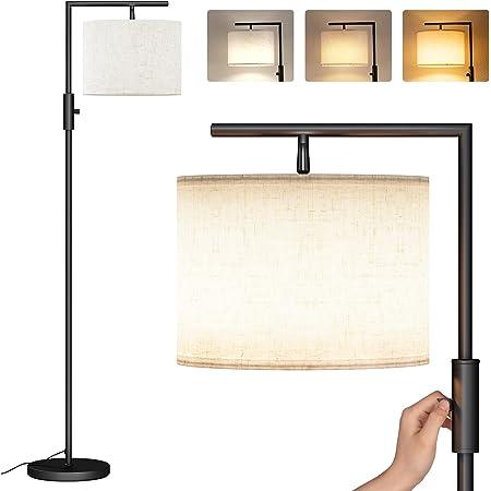 Lampadaire sur Pied Salon, SUNMORY Lampe sur pied avec 3 Températures de couleur 9W LED Ampoule, Lampadaire salon, E27 Socket(Max 60W), Lampadaires pour Salon, Chambre, Bureau,Lampadaire Moderne Noir
