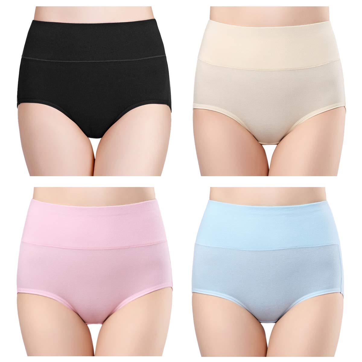 Women's High Waisted Cotton Underwear Ladies Soft Full Briefs Panties Multipack