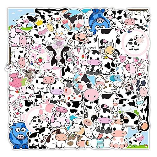 LSPLSP Kawaii Dibujos Animados Vsco Fresa Vaca Pegatinas para niñas niños DIY monopatín Maleta portátil Bicicleta Casco Coche calcomanías Bonitas 50 Uds