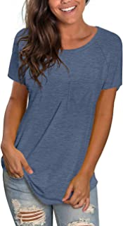 Aokosor Women's Casual Long Sleeve Round Neck Loose Tunic T Shirt Blouse Tops with Pocket