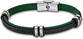 Lotus Bracelet en cuir style LS1829-2/2 - Pour homme et femme - Noir et vert - D2JLS1829-2-2 - Un beau cadeau pour Noël, u...