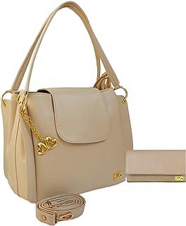 ANGLOPANGLO Handbag & Wallet Combo For Girls and Women (Cream)