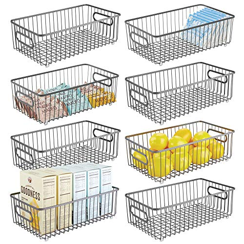 mDesign Metal Farmhouse Kitchen Pantry Food Storage Organizer Basket Bin - Wire Grid Design for Cabinets Cupboards Shelves Countertops - Holds Potatoes Onions Fruit - Long 8 Pack - Graphite Gray