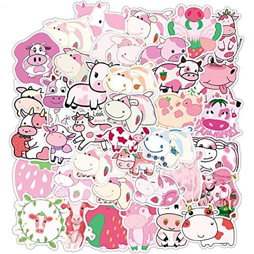 PMSMT 50 Piezas Lindo Fresa Vaca Animales Pegatina de Dibujos Animados para portátil monopatín Equipaje Nevera calcomanías Graffiti Pegatinas F4