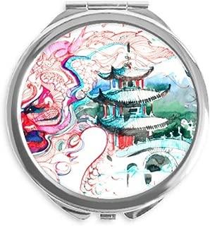 China Chinese Dragon Bridge Drawing Mirror Round Portable Hand Pocket Makeup
