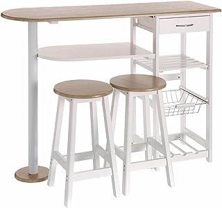 a74c760155b6 Lola Derek - Mesa de cocina bar moderna de madera blanca Basic