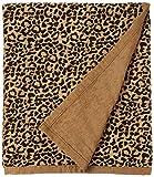 HiEnd Accents San Angelo Tan Leopard Chenille Throw Blanket, 50' x 60', Tan & Black