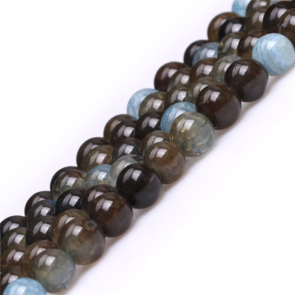 Blue Crackle Agate Beads for Jewelry Making Gemstone Semi Precious 8mm Round 15