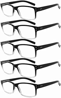 Eyekepper Mens Vintage Reading Glasses-5 Pack,Black-Clear Frame +1.50