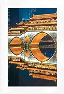 ALUONI Landscape Wall Art Paintings,Major Popular Big Bridge in Chinese City Monumental Classic Building Tower Photo,10''L x 7''W
