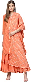 ishin Women's Cotton Peach Solid with Gota Patti A-Line Kurta Sharara Set