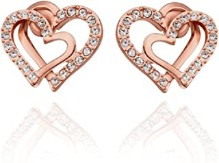 Naivo Korean Style 19k White Gold Plated Double Love Heart Shaped Gold Color Earring Stud