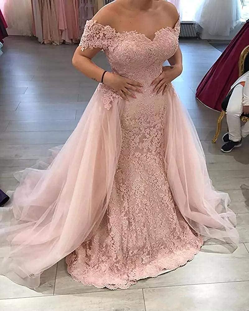 Melisa Women's Off The Shoulder Lace Mermaid Wedding Dresses for Bride with Detachable Train Long Bridal Ball Gowns