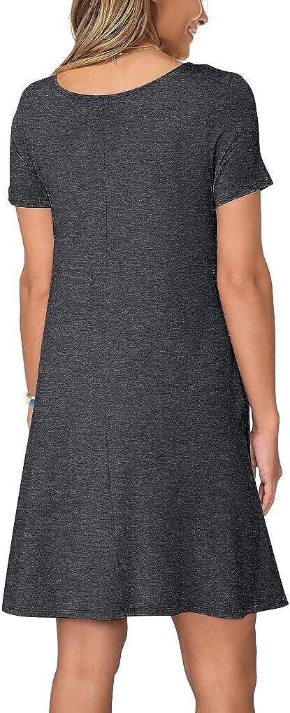 KORSIS Womens Summer Casual T Shirt Dresses Short Sleeve Swing Dress Pockets