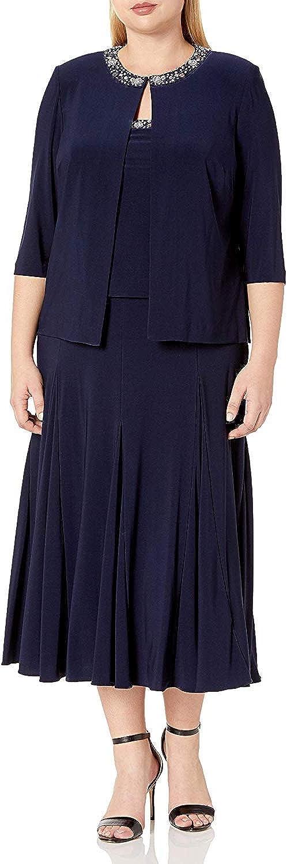 Alex Evenings Women's Plus Size Tea Length Jacket Dress with Sequin Beaded Trim
