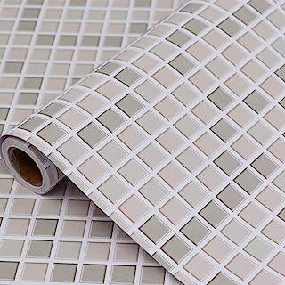 Hode Mosaico Vinilo Adhesivo para Azulejos Cocina 40X300cm Mosaic Impermeable Papel Pintado Autoadhesivo Baño Cocina Azulejo (Marrón Claro) Decorativos Papel Adhesivos