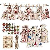 iSpchen 24 Piezas Bolsa de Lino de Algodón de Navidad Bolsas de Yute Bolsillo con Cordón Bolsa de Dulces de Navidad Calendario de Adviento Bolsas de Lino de Algodón decoración del Árbol de Navidad