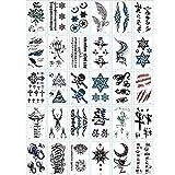 Yesallwas タトゥーシール 文字 30枚セット かわいい 英文字 タトゥー リアル 防水 長持ち 入れ墨シール タトゥーステッカー ボディーシール メンズ レディース 刺青シール tattoo 5.7cm×9.7cm (D)