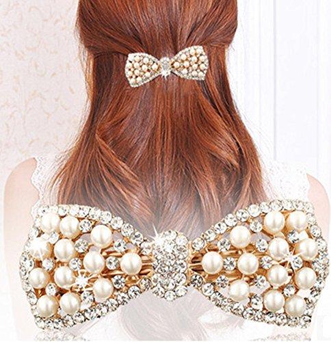 Distinct® Bow Mignon Crystal Pearl Barrettes Cheveux Clip en épingle à Cheveux Coiffure pour Femmes Mode Accessoires Bijoux de Cheveux (Or)