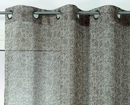 Linder Voilage Motif Petite Fleur, Polyester, Naturel, Noir, 150x240 cm