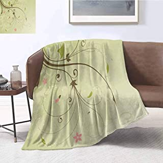 Green and Brown Super Soft Microfiber Fuzzy Blanket Floral Arrangement with Swirls Lines Petal Buds Abstract Bouquet Cozy Lightweight Premium Bed Blanket W70 x L93 Inch Pale Green Brown Pink
