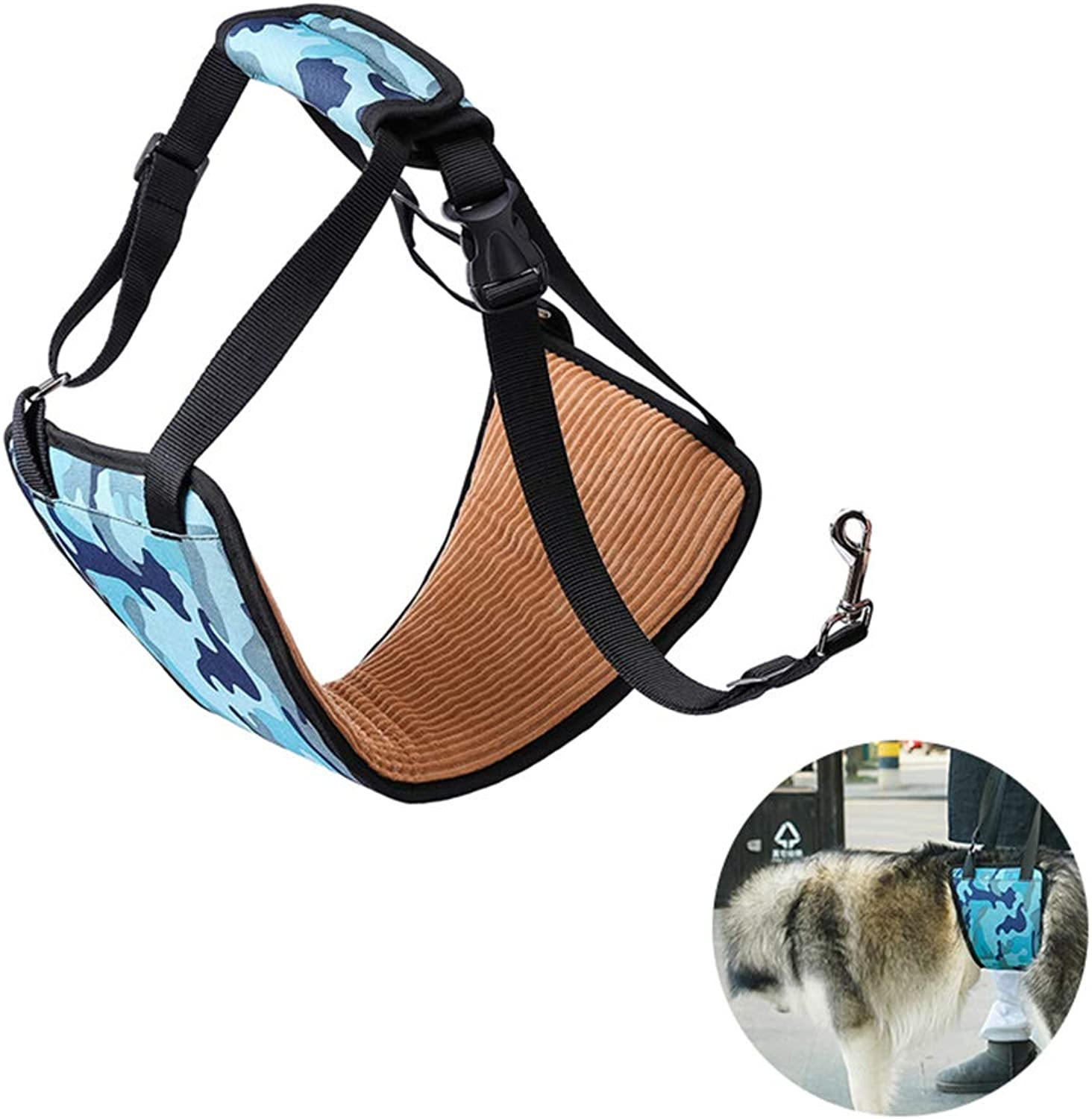 Adjustable Dog Lifting Harness,Pet Dog Lift Support Rehabilitation Harness Canine Aid Assist Sling for Old Disable Injured Dogs(bluee Camouflage)
