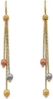 Ioka 14K Tri Color Gold 3 Disco Ball Hanging Shepherds Hook Earrings