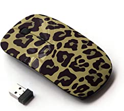 STPlus Leopard Print Pattern (Beige) 2.4 GHz Wireless Mouse with Ergonomic Design and Nano Receiver