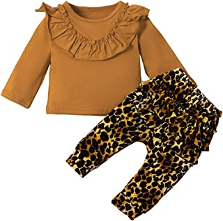 HAPPYMA Toddler Baby Girl Pants Sets Blouse Long Sleeve Top + Leopard Floral Ruffle Pants + Headband Fall Winter Outfits Clothes