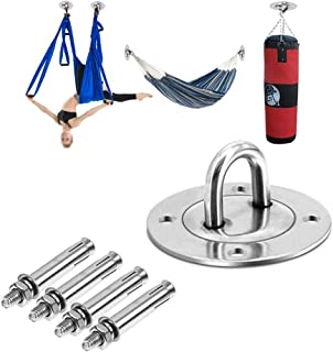 Stainless Steel Yoga Ceiling Anchor - Wall Mount Bracket for Suspension Straps, Gymnastic Rings, Aerial Yoga Swing & Hammock