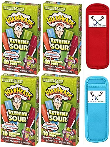 Warheads Extreme Sour Freezer Pops Bundle. Includes 4/10ct boxes of...