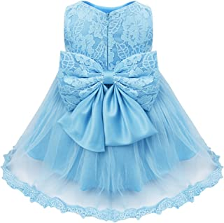 Baby Girls Flower Ruffled Princess Bowknot Wedding Pageant Christening Baptism Communion Party Dress