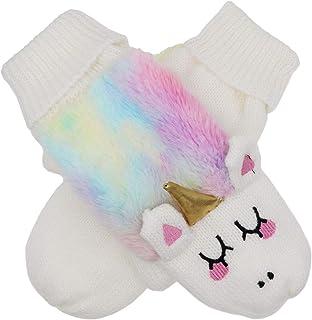 Women Girls Unicorn Mitten Gloves Winter Rainbow Warm Lining Cozy Knit Faux Fur Mitten