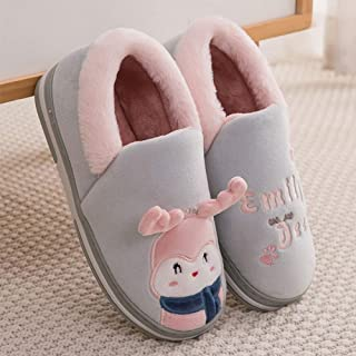 Winter Home Warm Cartoon Bagged Plush Cotton Slippers-Comfortable Indoor Thick Bottom Non-Slip TPR Couple Men's Home,Green,38