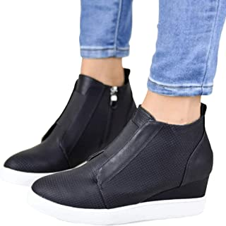 Women's Platform Sneakers Hidden Wedges Side Zipper Faux Suede Perforated Ankle Booties