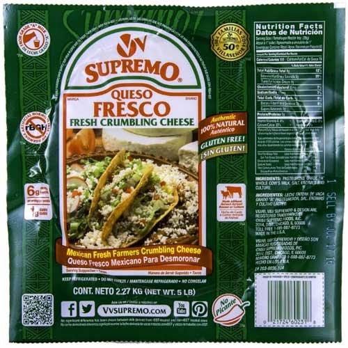 VV Supremo Queso Fresco Crumbling Cheese, 5 Pound -- 4 per case.