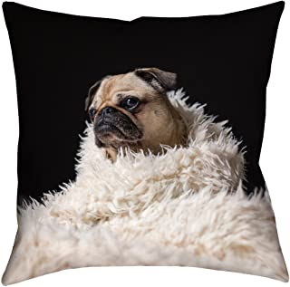 Updated Fabric ArtVerse Matthew Henry Pug in Blanket x 26 Pillow-Faux Linen Double Sided Print with Concealed Zipper /& Insert