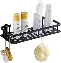 Hoomtaook Bandeja de baño rectangular negra, Cesta de ducha, Aluminio aeroespacial, Organizador de baño, Montaje en pared sin taladro, Adhesivo