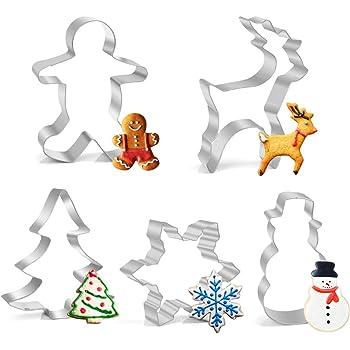 Joyoldelf Ausstechformen Weihnachten Edelstahl Ausstecher Set für Fondant Sandwiches Brot Plätzchen Halloween Tortendekorationen, 5 Stück