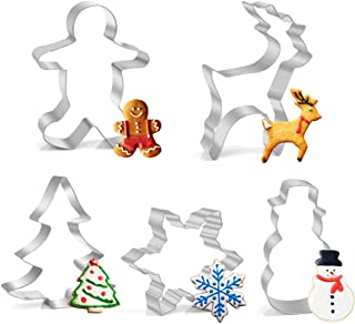 LEEFE 5Pcs Christmas Cookie Cutter Set Stainless Steel Baking Shape Mold for Making Muffins Biscuits - Gingerbread Men, Snowman, Snowflake, Candy Cane, Christmas Tree, Angel, Reindeer, Candy