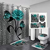 ZHEBEI Grün Schmetterling Rose Badezimmer Set mit Duschvorhang & Teppich Blume Duschvorhang Rutschfest Teppich WC Abdeckung Teppich Home Dekoration