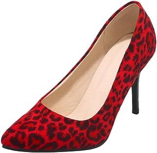 Smilice Escarpins élégants léopard pour femme avec talons Stiletto pour datation de mariage